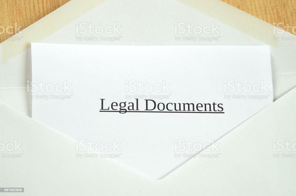 Legal Documents printed on white paper and envelope, wooden background stock photo