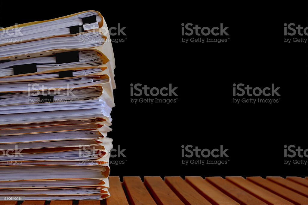 Legal File Folders on Black Background stock photo