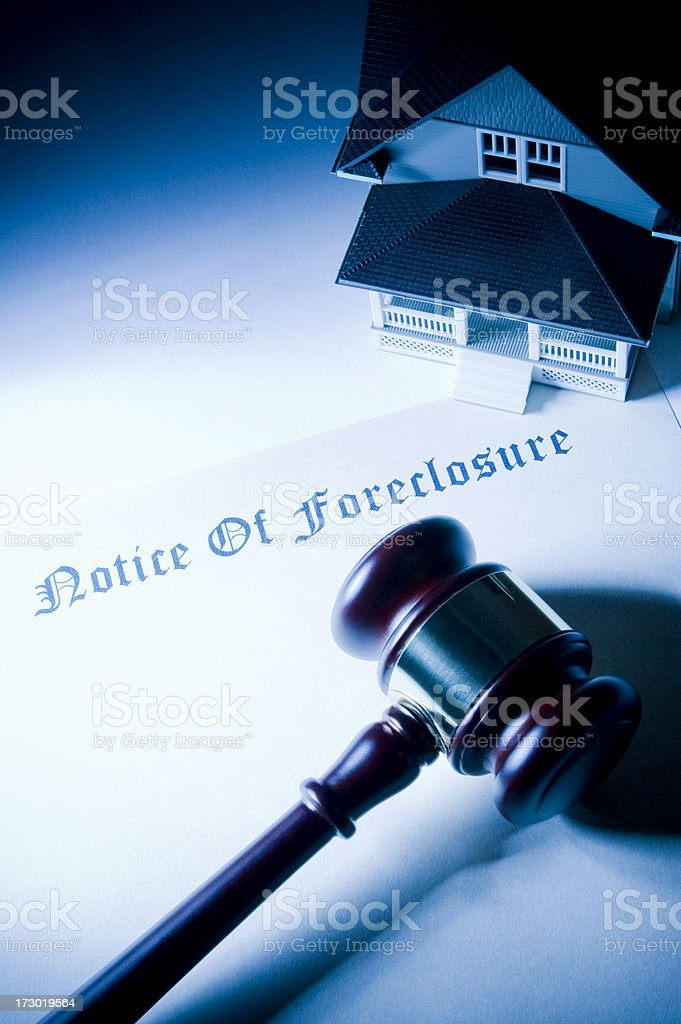 Legal Foreclosure With Gavel and House royalty-free stock photo