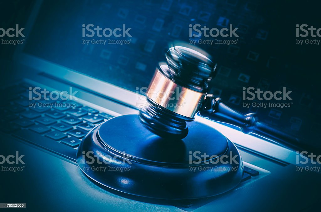 Legal law concept image gavel on computer laptop stock photo