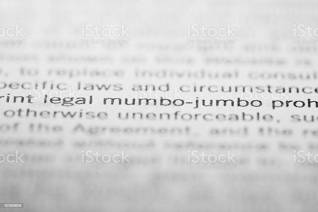 Legal mumbo-jumbo royalty-free stock photo
