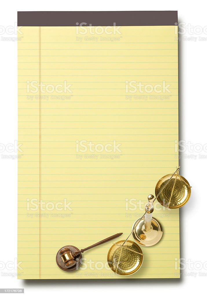 Legal pad,Gavel,Justice Scale royalty-free stock photo