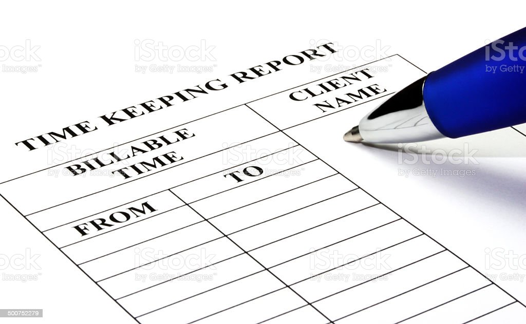 Legal Time Keeping Report stock photo
