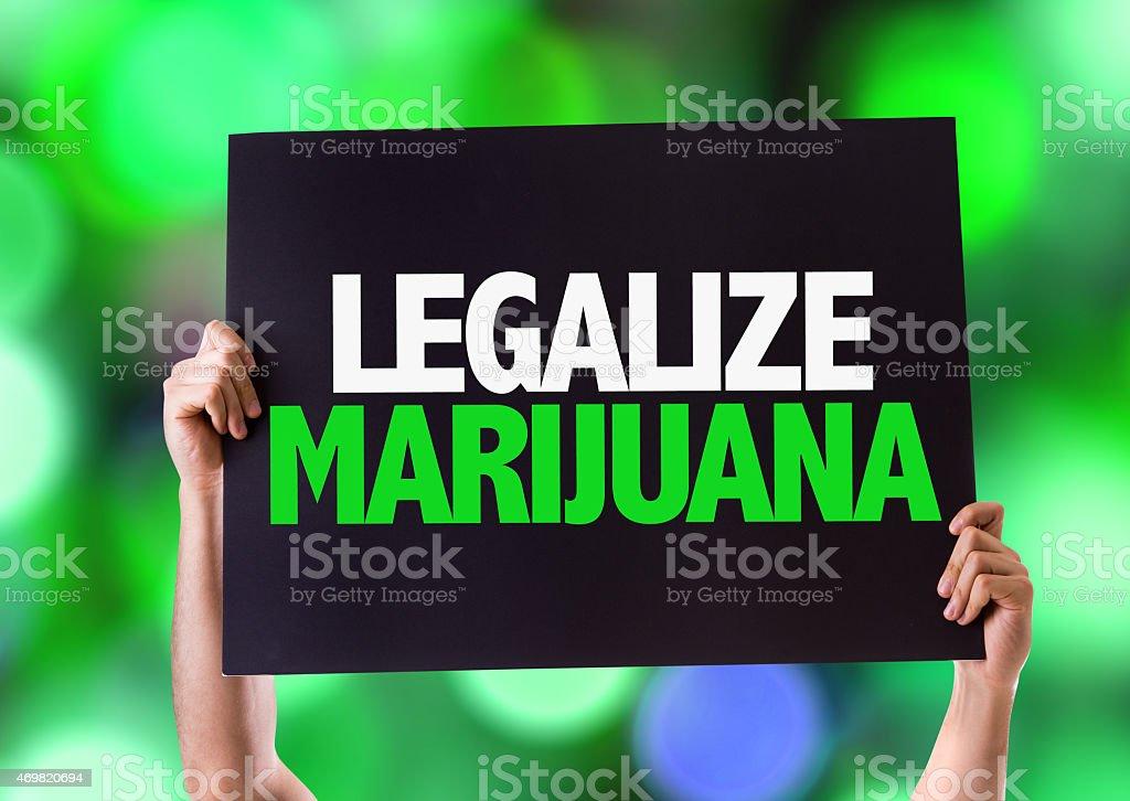 Legalize Marijuana card with bokeh background stock photo