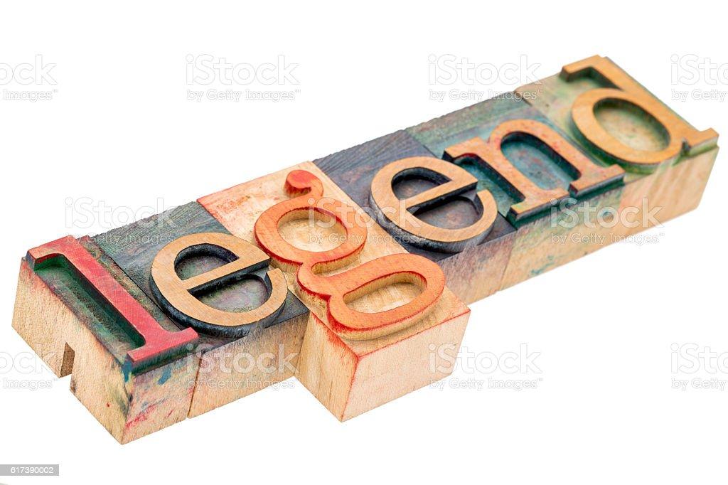legend word in letterpress wood type stock photo
