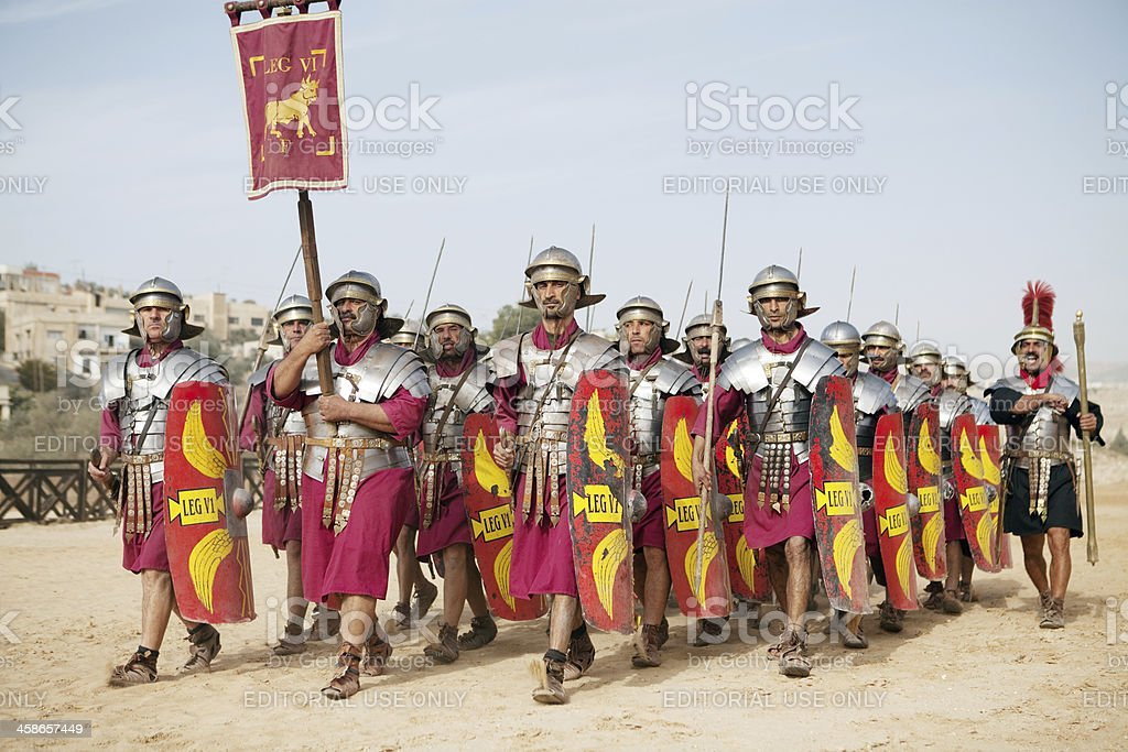 Legion marching - Jerash, Jordan stock photo