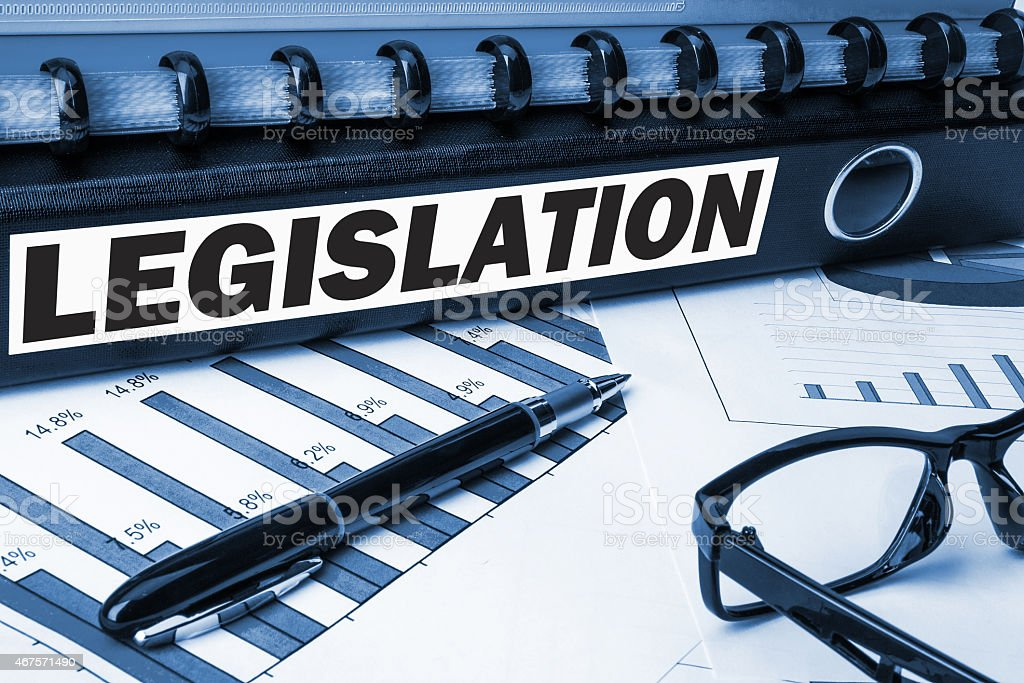 A legislation label on document folder stock photo