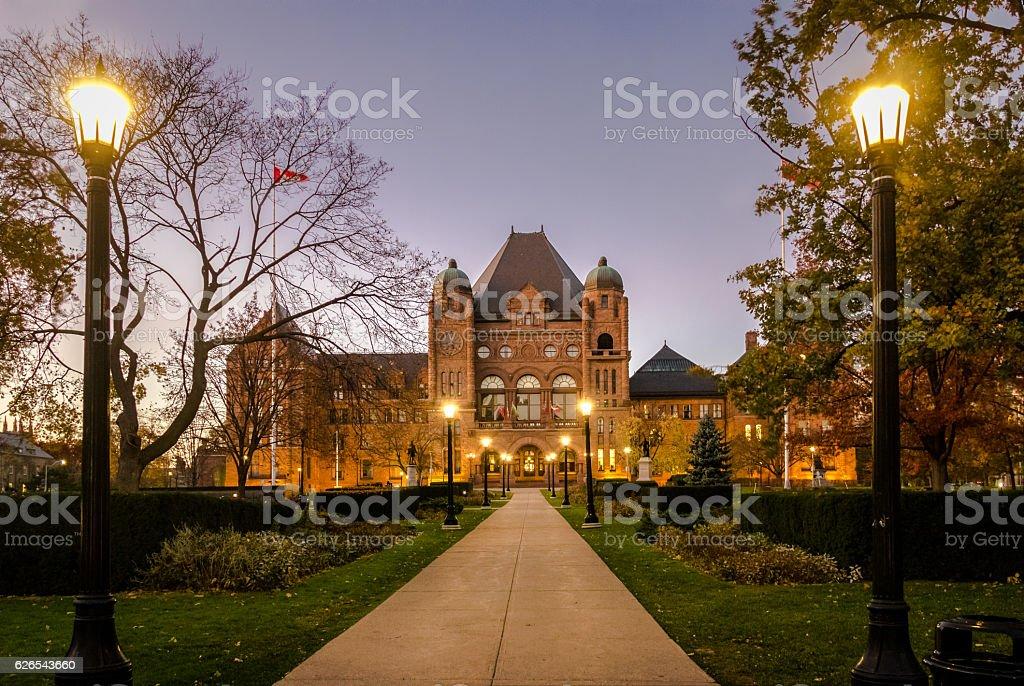 Legislative Assembly of Ontario at night - Toronto, Canada stock photo
