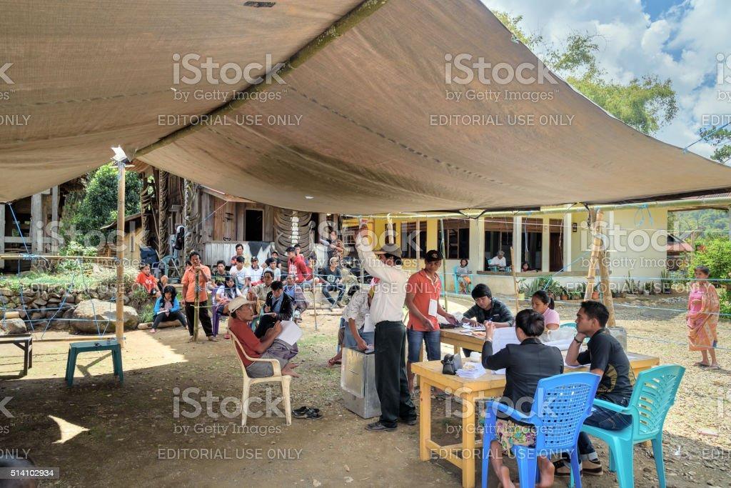 Legislative elections held in Lempo village. Tana toraja stock photo