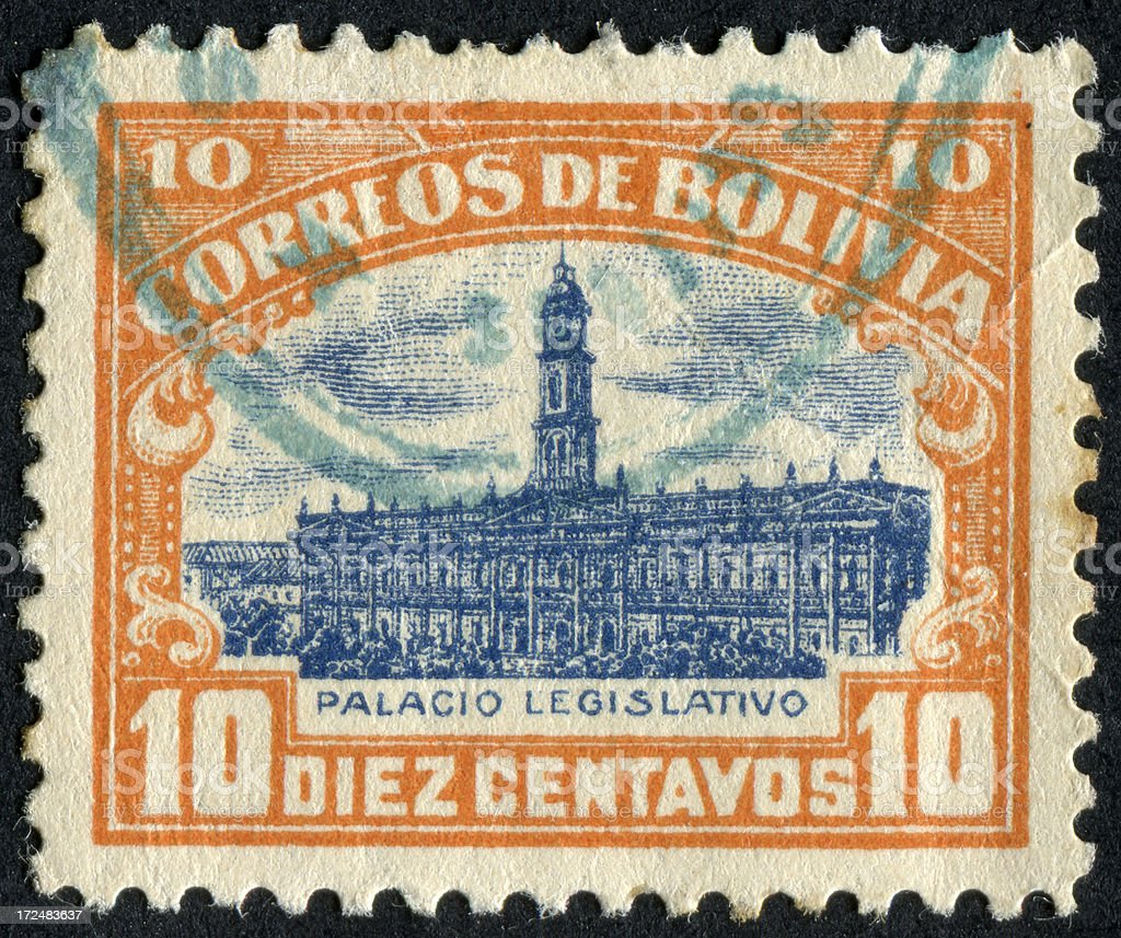 Legislative Palace, Bolivia Stamp royalty-free stock photo