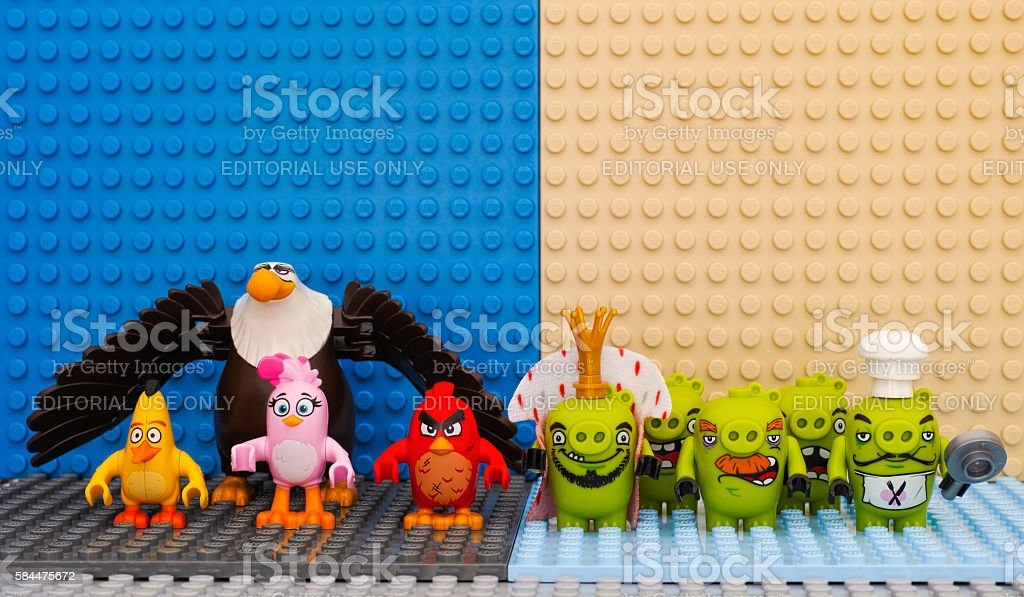 Lego Angry Birds versus Bad Piggies stock photo