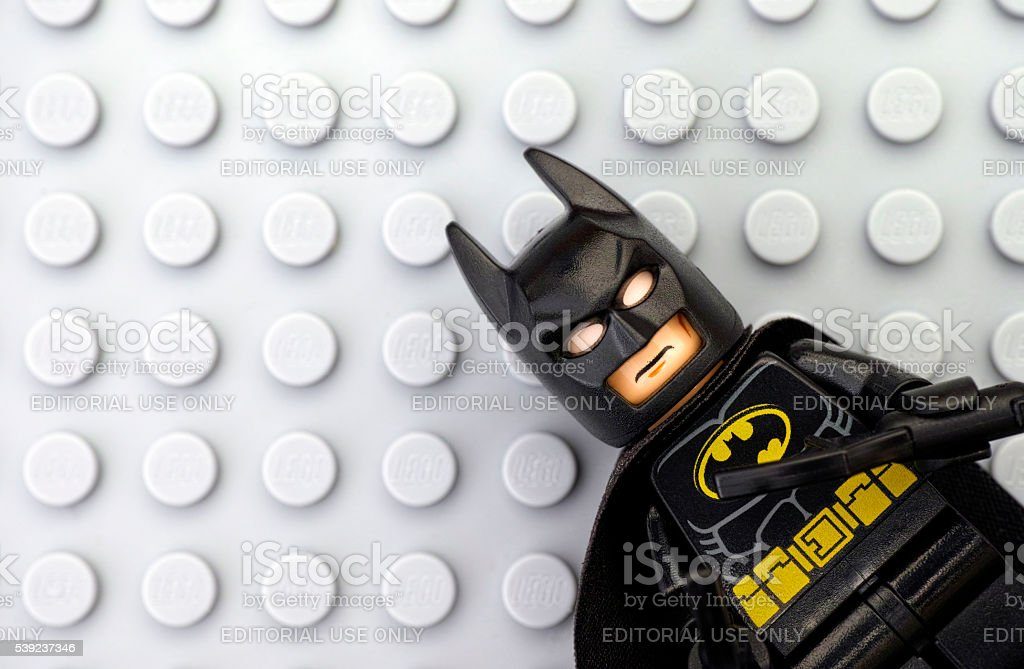 Lego Batman on gray baseplate stock photo