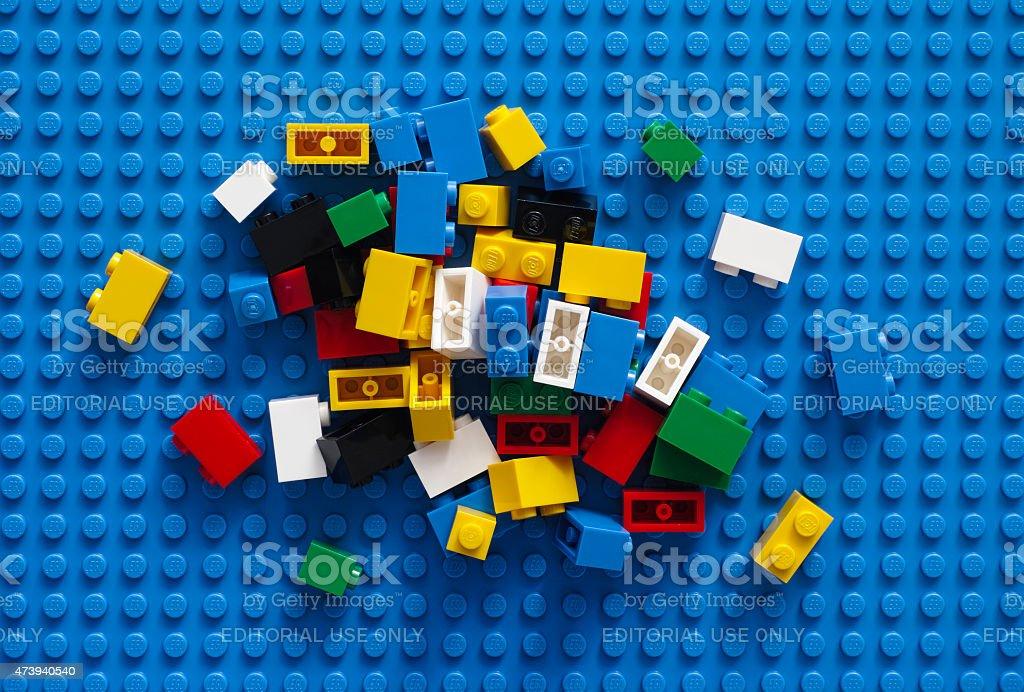 Lego Blocks on blue baseplate stock photo