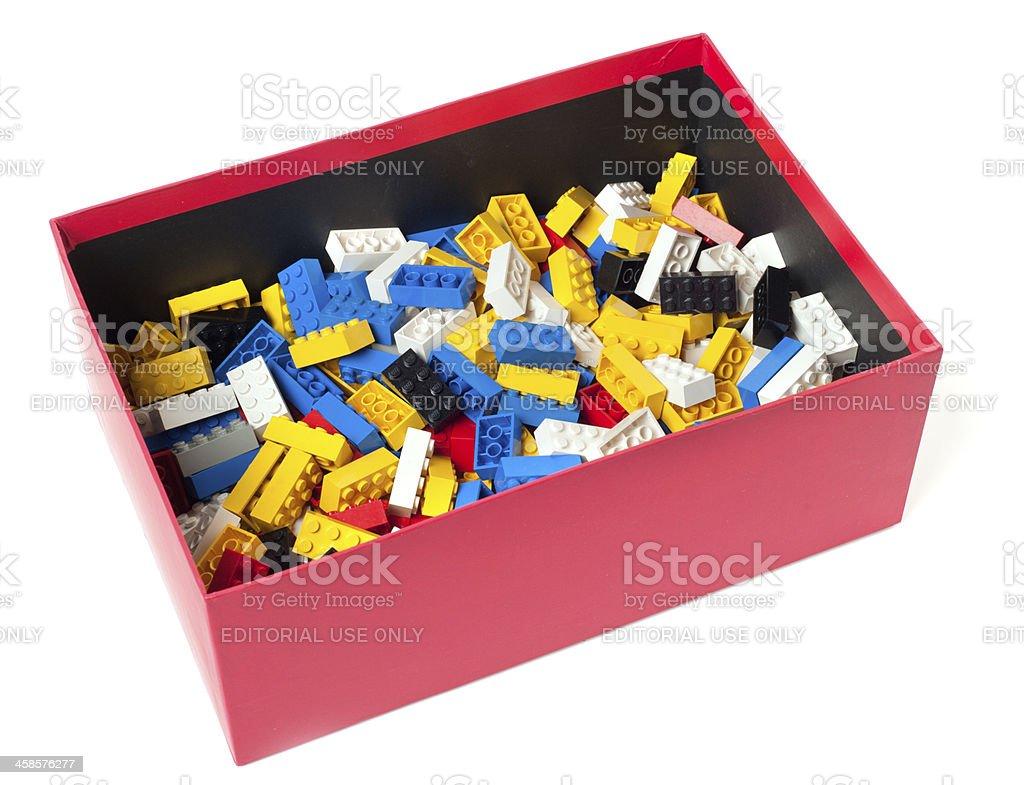 Lego Building Block Bricks in  Red Box royalty-free stock photo