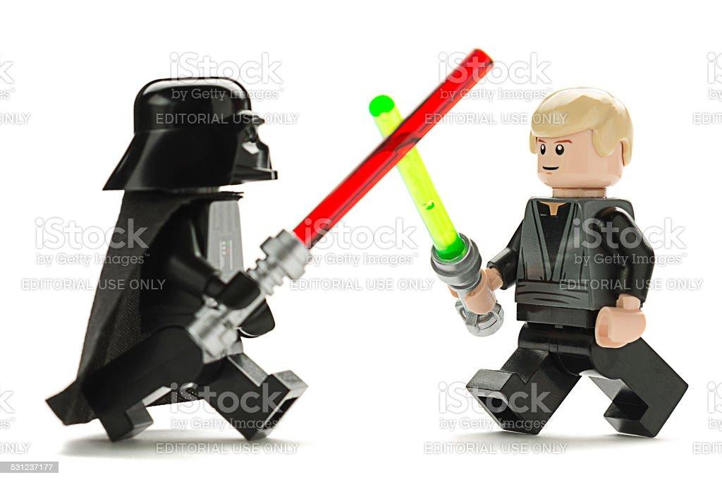 Lego Darth Vader versus Luke Skywalker stock photo