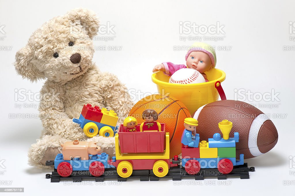 Lego Duplo Blocks, Figures, Teddy Bear, Balls and Toys royalty-free stock photo