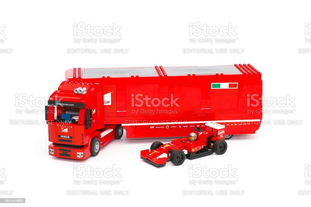 Lego F14 T and Scuderia Ferrari Truck with race car stock photo