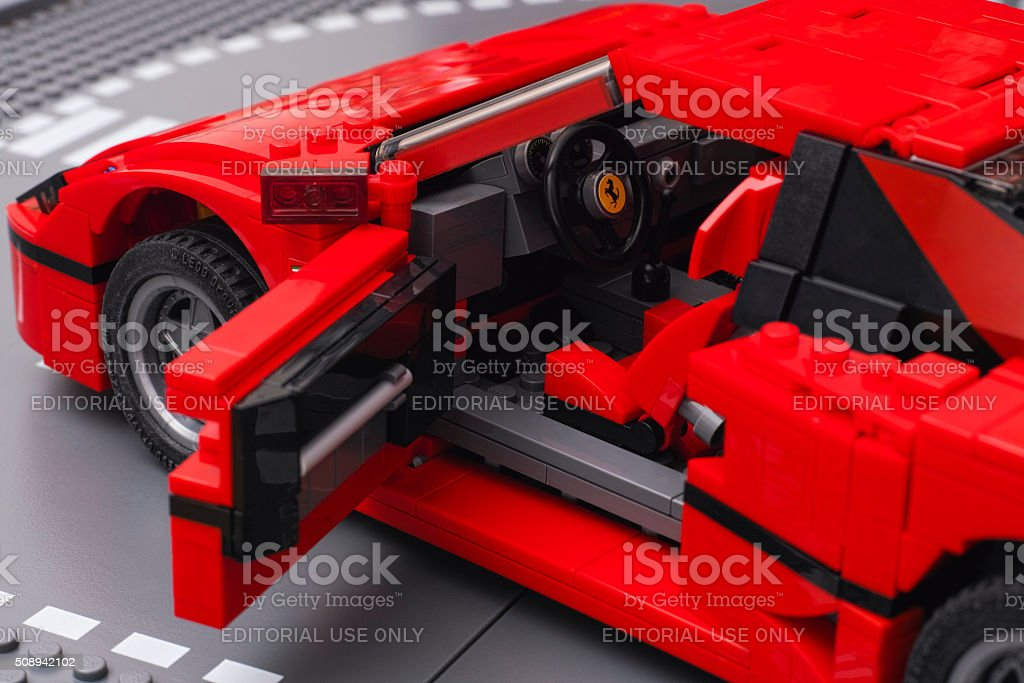 Lego Ferrari F40 car with open driver door stock photo