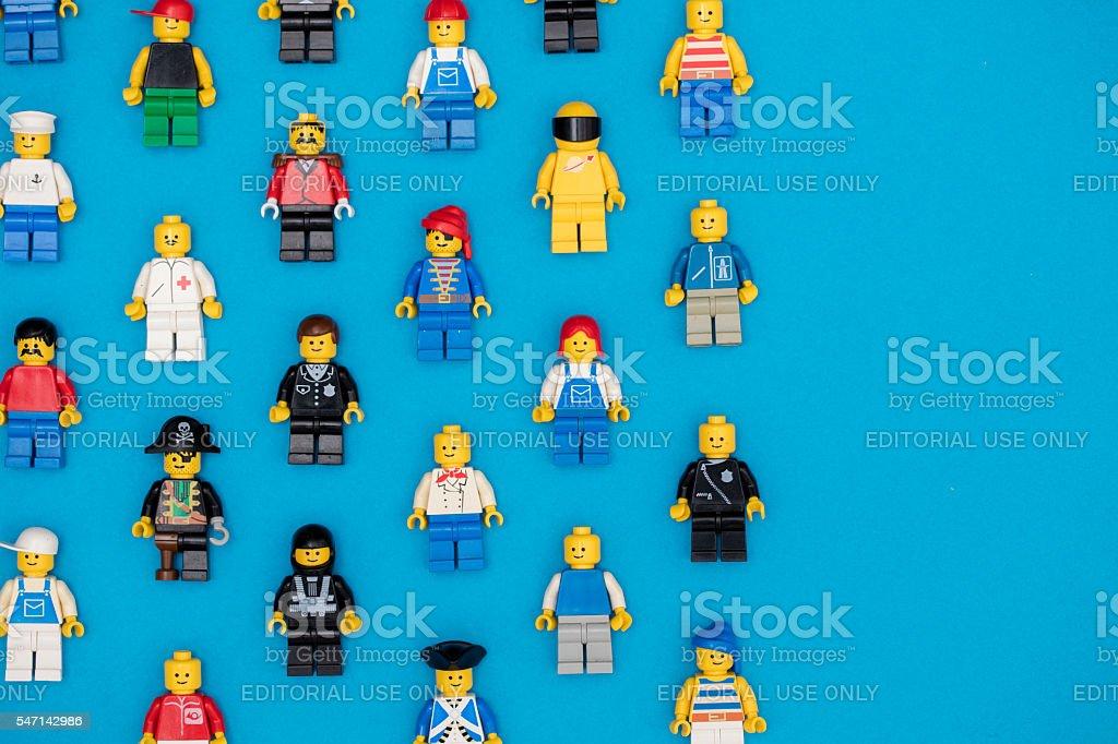 Lego figures background stock photo