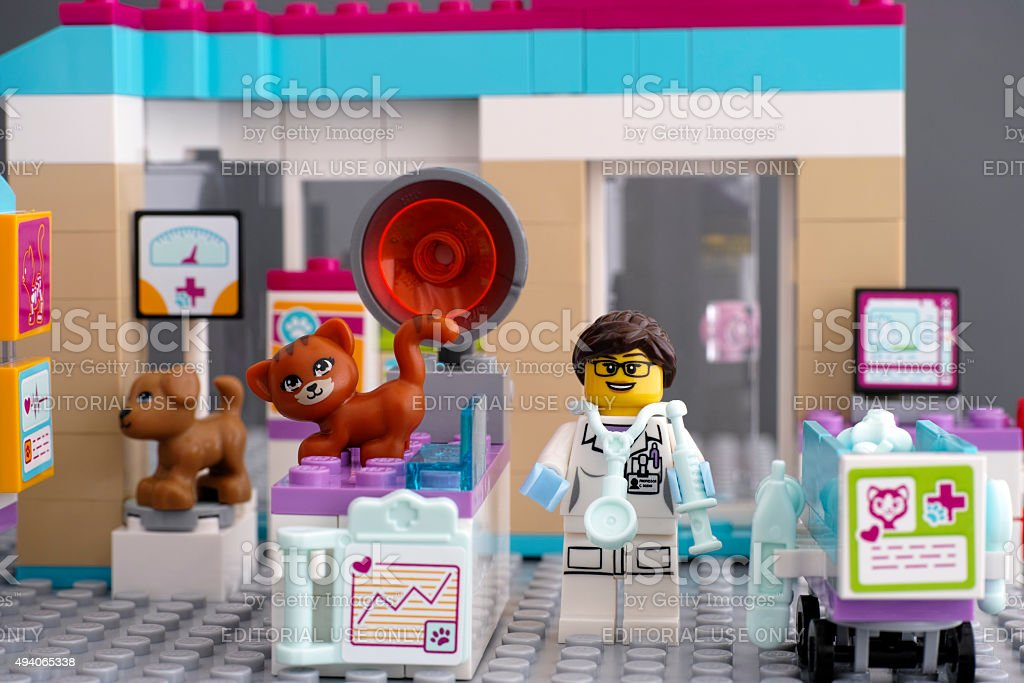 Lego Friends Vet Clinic with pets and doctor stock photo