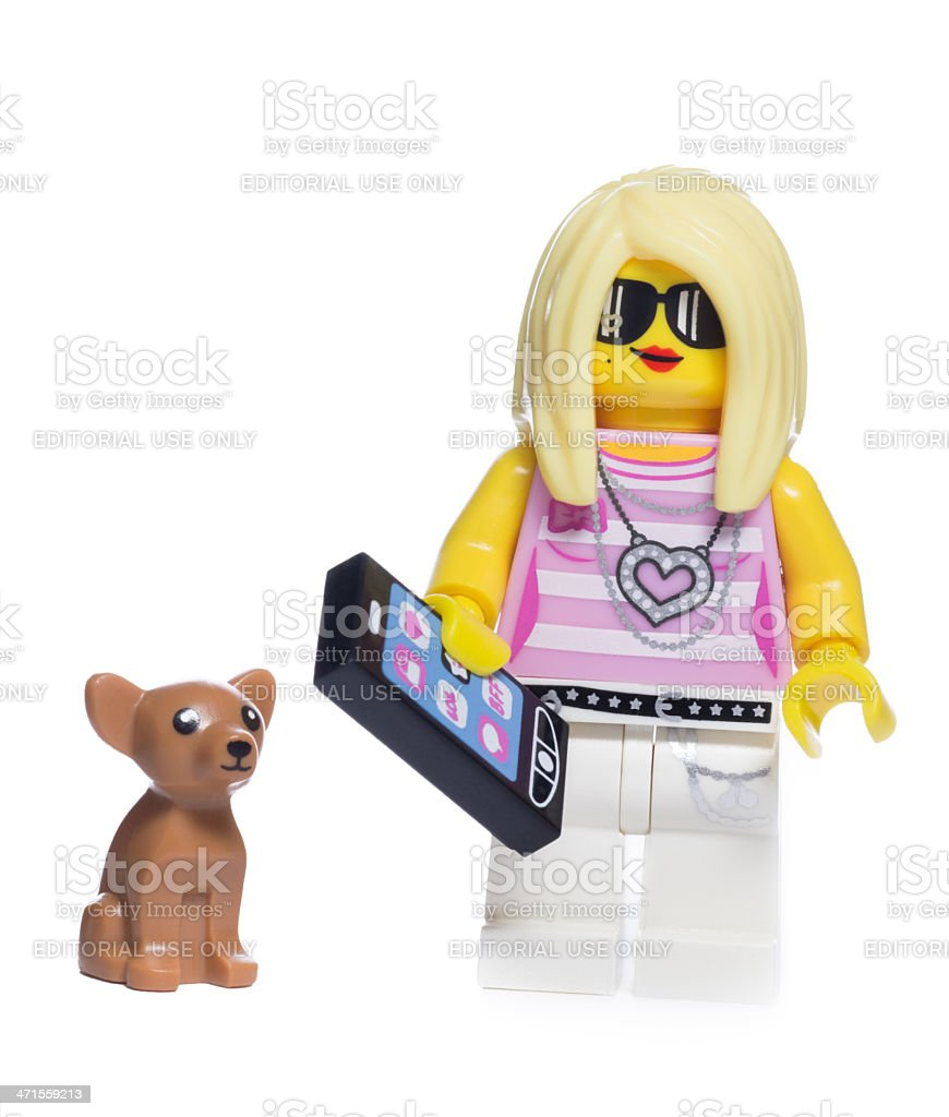 Lego Girl Trendsetter with Dog stock photo
