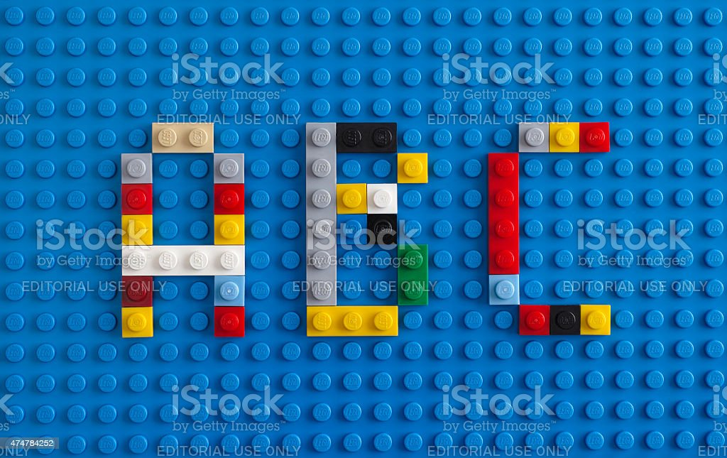Lego letter A, B, C stock photo