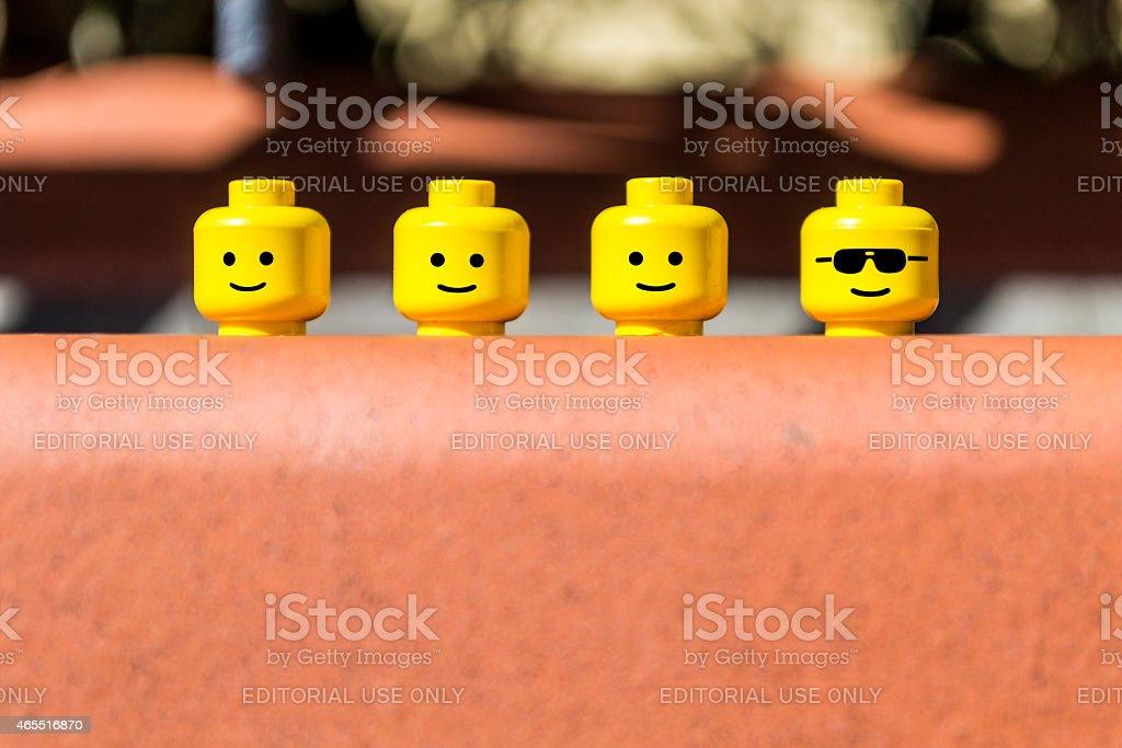Lego mini figure heads stock photo