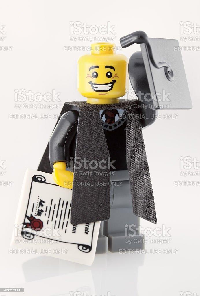 Lego Minifigure: Graduate royalty-free stock photo