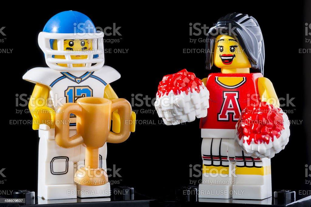 Lego Minifigures Series 8 figurine: Football Player with Cheerleader royalty-free stock photo