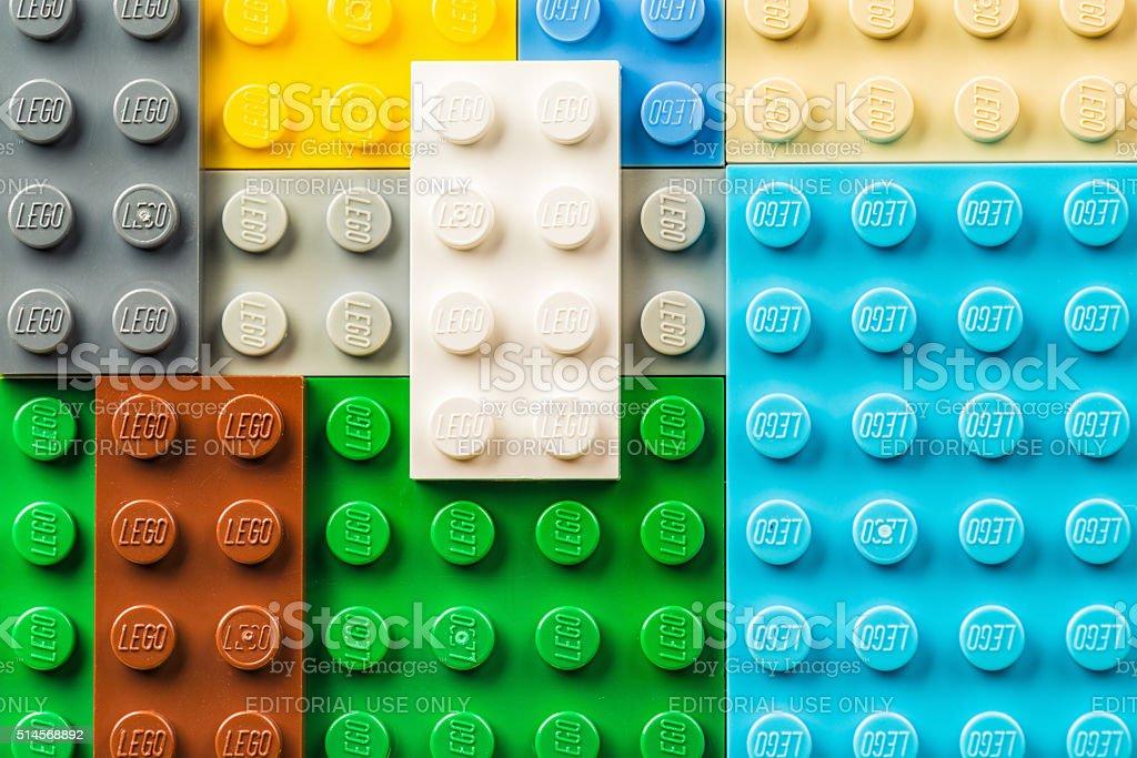 Lego pieces macro stock photo