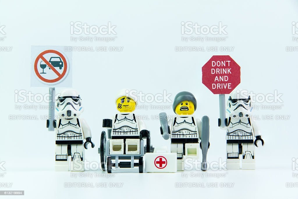 Lego star wars accident by a drunk driver stock photo