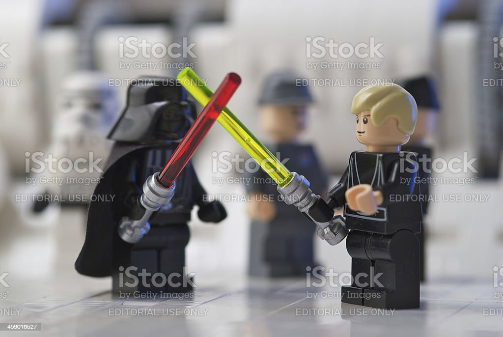 Lego sword fight stock photo