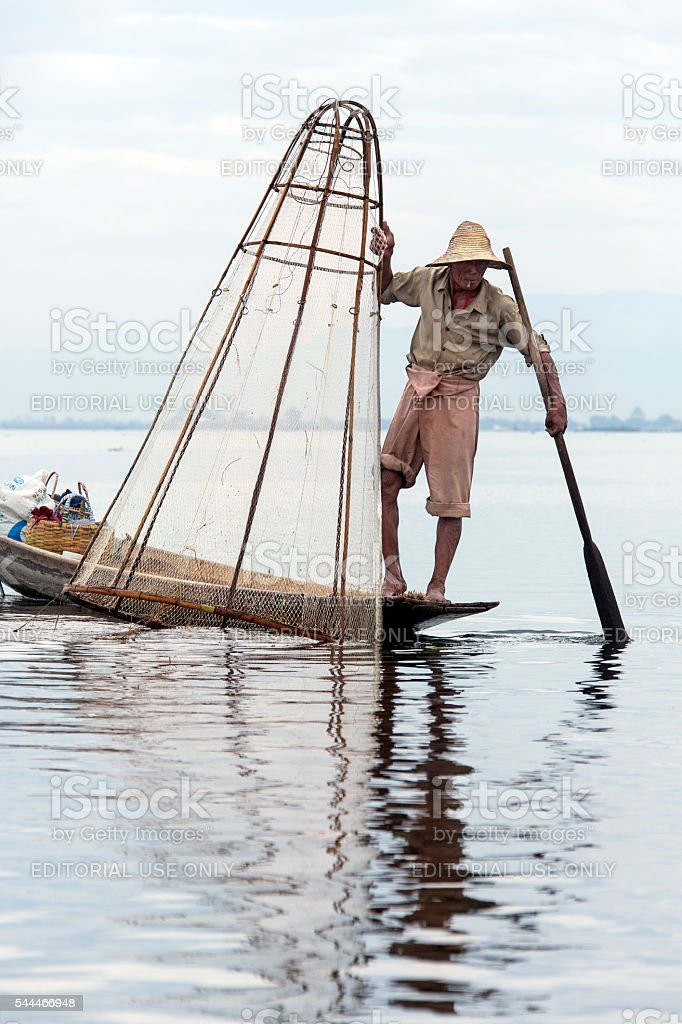 Leg-rowing Fisherman - Inle Lake - Myanmar stock photo