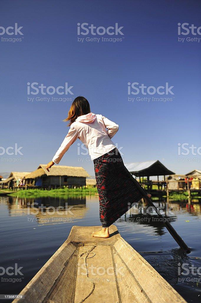 Leg-rowing Intha girl royalty-free stock photo