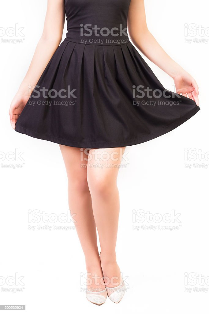 Legs and Black Dress stock photo