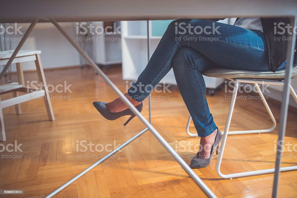 Legs and high heels stock photo