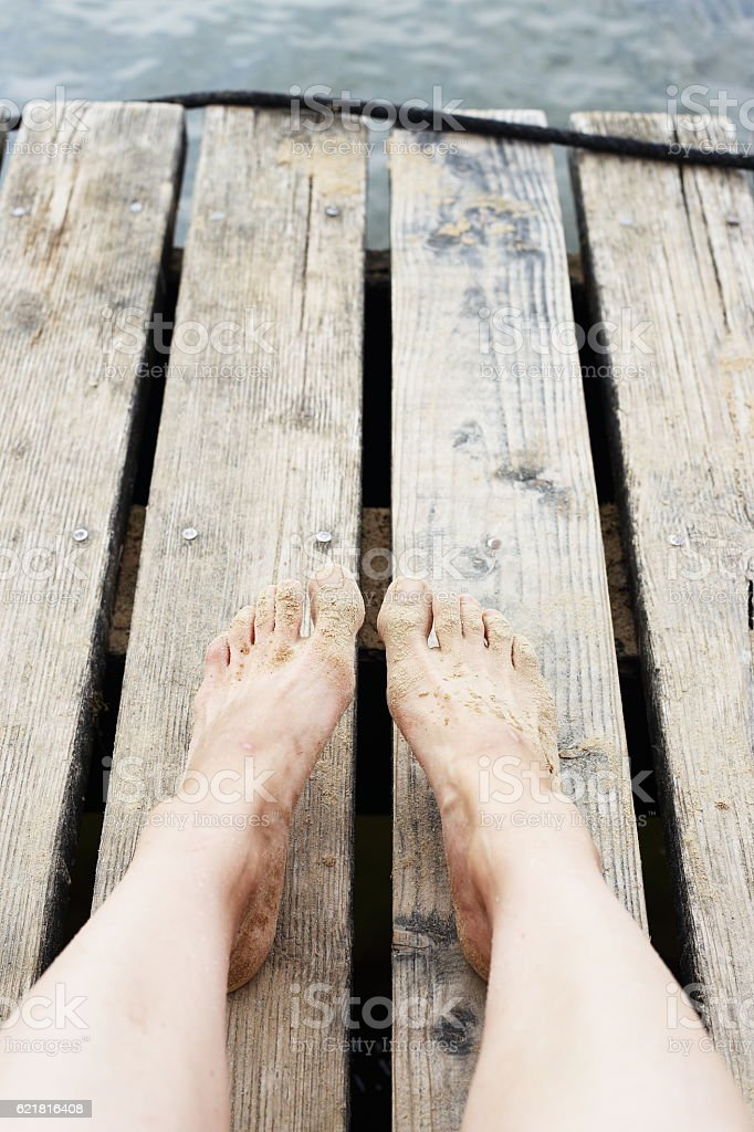legs and jetty royalty-free stock photo