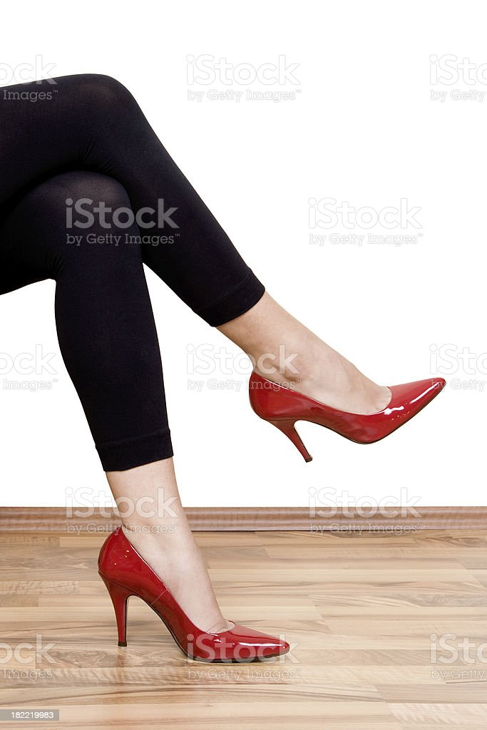 Legs and red shoes royalty-free stock photo