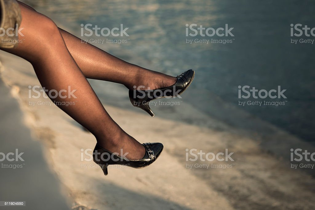 Legs and stockings stock photo