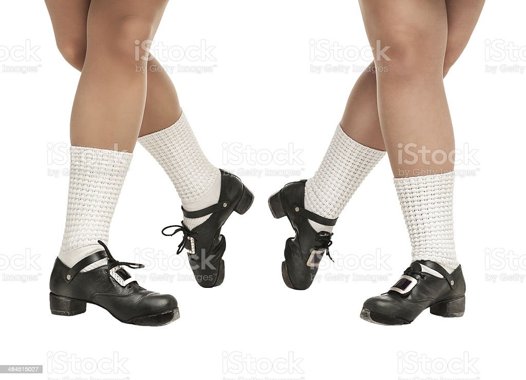 Legs in hard shoes for irish dancing stock photo