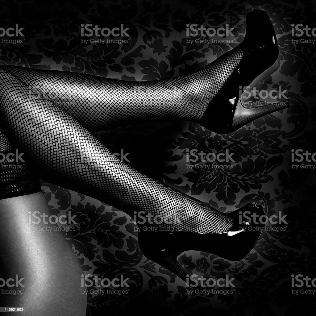 legs in stockings stock photo