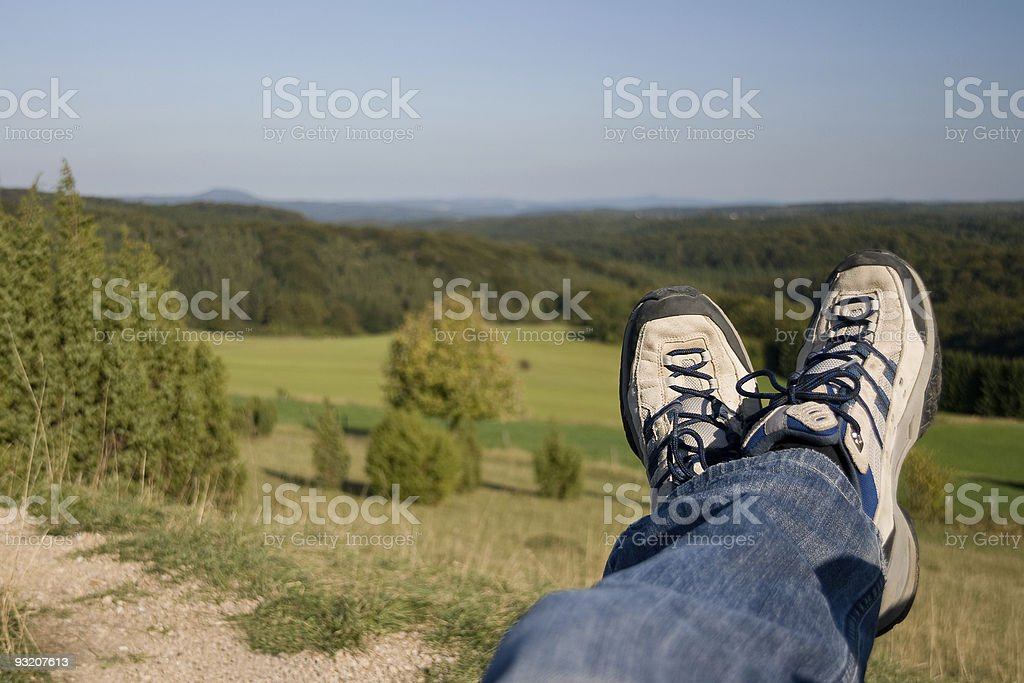 Legs of a hiker stock photo