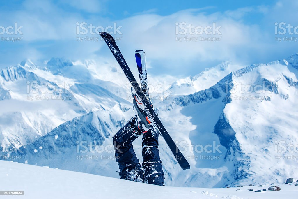 Legs of the skier stock photo