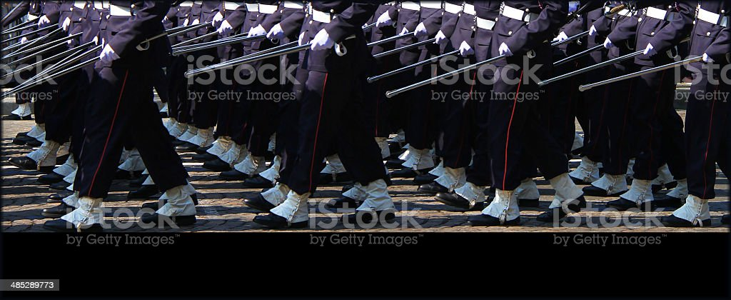 Legs of troops marching on 14th July in Paris stock photo