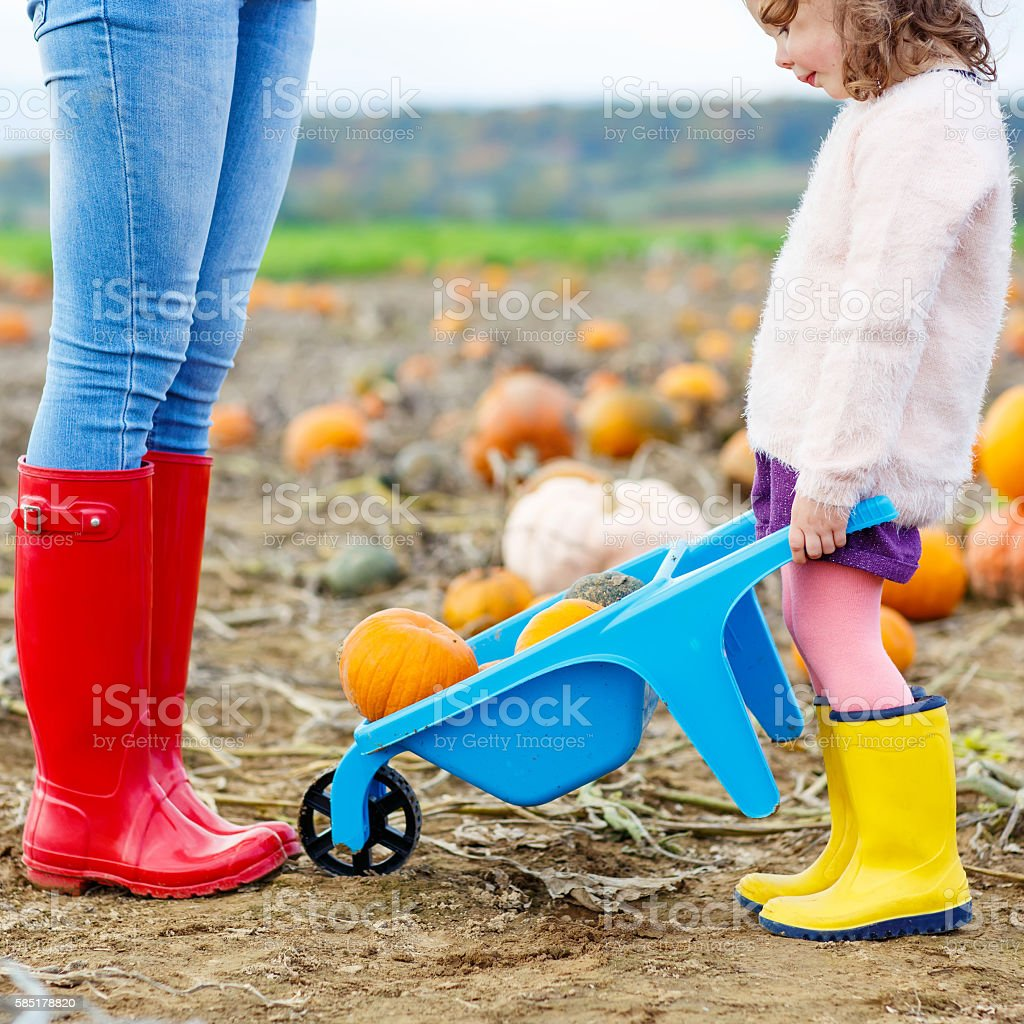 Legs of woman and her little girl daugher in rainboots. stock photo