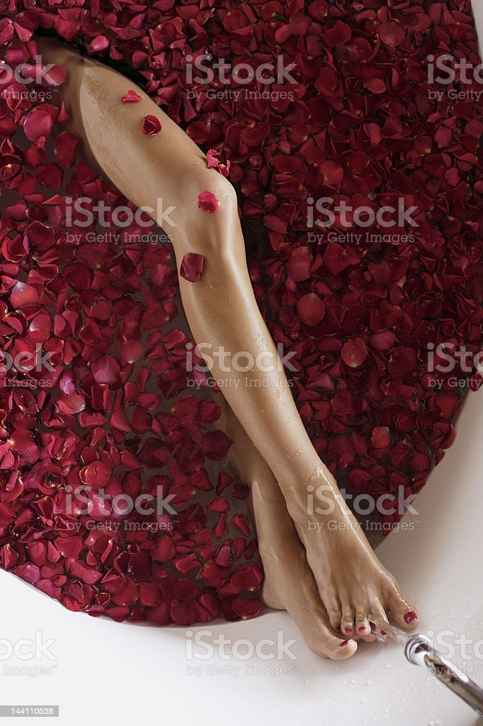 legs of woman in bathtub with petals stock photo