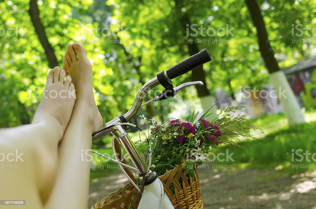 Legs on a bicycle royalty-free stock photo