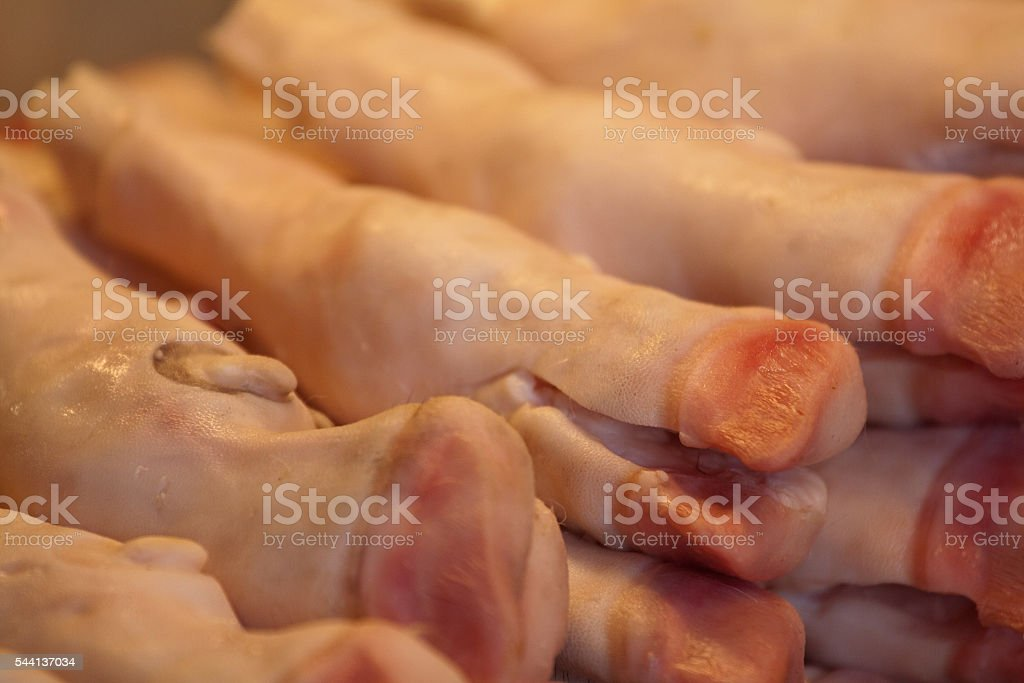 Legs with feets seen in a istanbul butcher stock photo