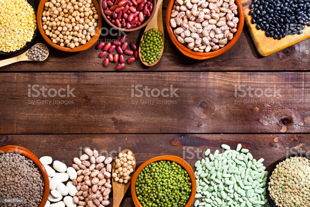 Legumes: Dry beans variety with copy space stock photo