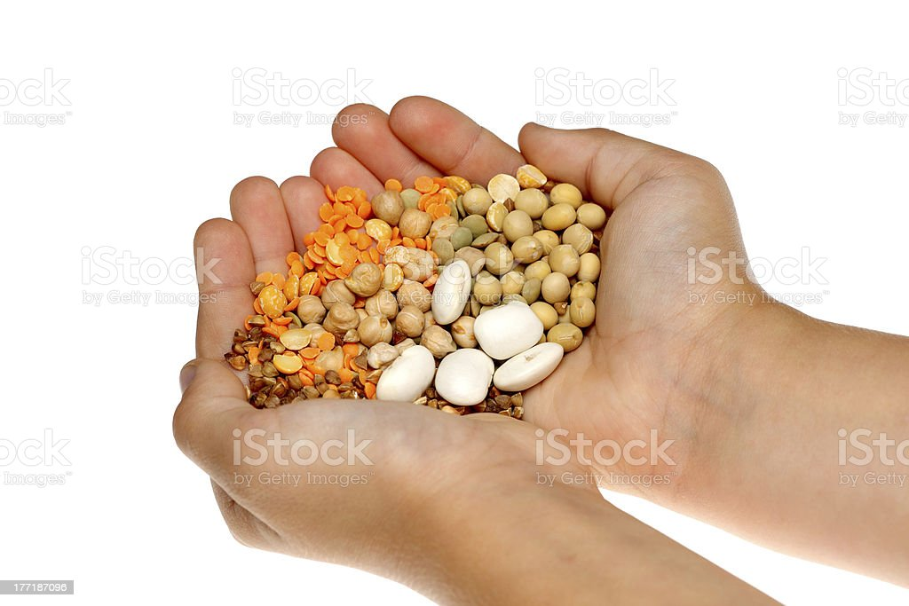 legumes in hands royalty-free stock photo